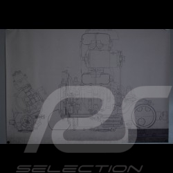 Reproduction Blueprint Moteur Porsche 356 1953