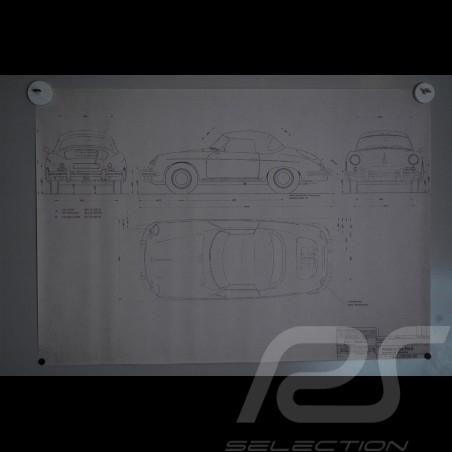 Reproduction Blueprint Porsche 356 B Roadster 1961
