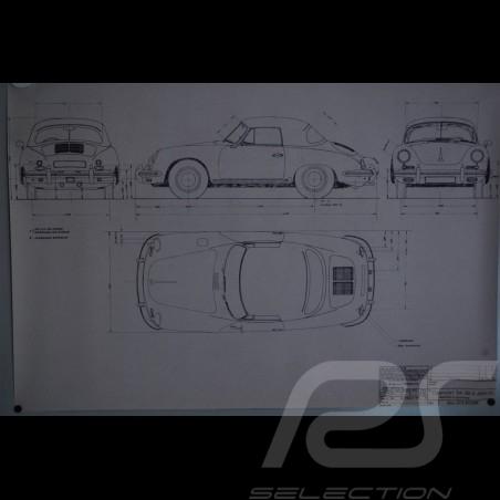 Reproduction Blueprint Porsche 356 B Cabriolet 1961