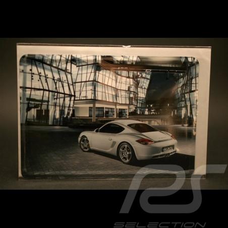 Carte postale métallique Porsche Cayman S blanc