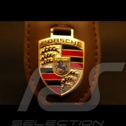 Porte-clé écusson Porsche cuir marron