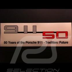 Autocollant Porsche 50 ans 911 transparent 25 x 8 cm