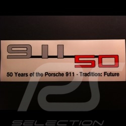 Autocollant Porsche 50 ans 911 transparent 9 x 3 cm