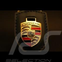 Porte-clé écusson Porsche cuir bleu