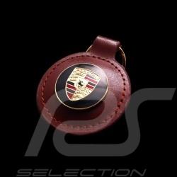 Porte-clés écusson Porsche rétro marron Porsche crest keyring brown round Schlüsselanhänger Wappen Porsche braun