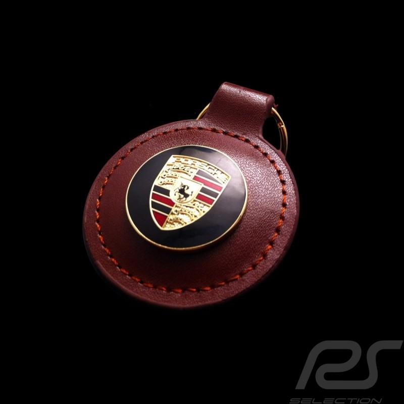 Porsche crest keyring brown round