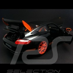 Porsche 911 type 997 GT3 RS noire black schwarz / orange 1/18 Welly 18015