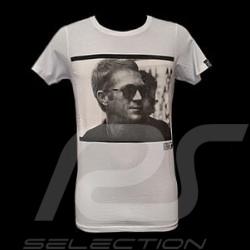 T-Shirt Herren Steve McQueen profil weiß