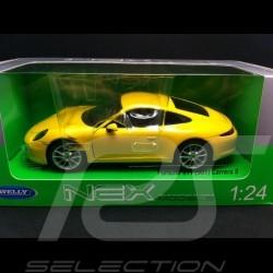 Porsche 991 Carrera S coupe jaune 1/24 welly 24040Y