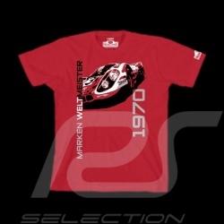 T-Shirt homme Hunziker Porsche 917 Marken Weltmeister 1970 rouge
