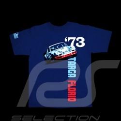 T-Shirt homme Hunziker Porsche 911 Targa Florio 1973 bleu marine