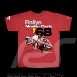 T-Shirt Herren Porsche 911 Rallye Monte Carlo 1968 rot