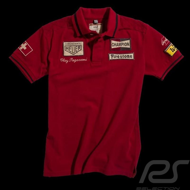 Polo Clay Regazzoni n° 4 rouge homme men herren