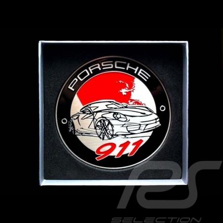 Abzeichen Kühlergrill 911 rot schwartz silber Porsche Design ref WAP050