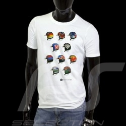Men's T-shirt pilot helmet Classic races white