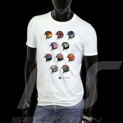 T-Shirt Herren Pilot Helm Klassische Rennen weiß