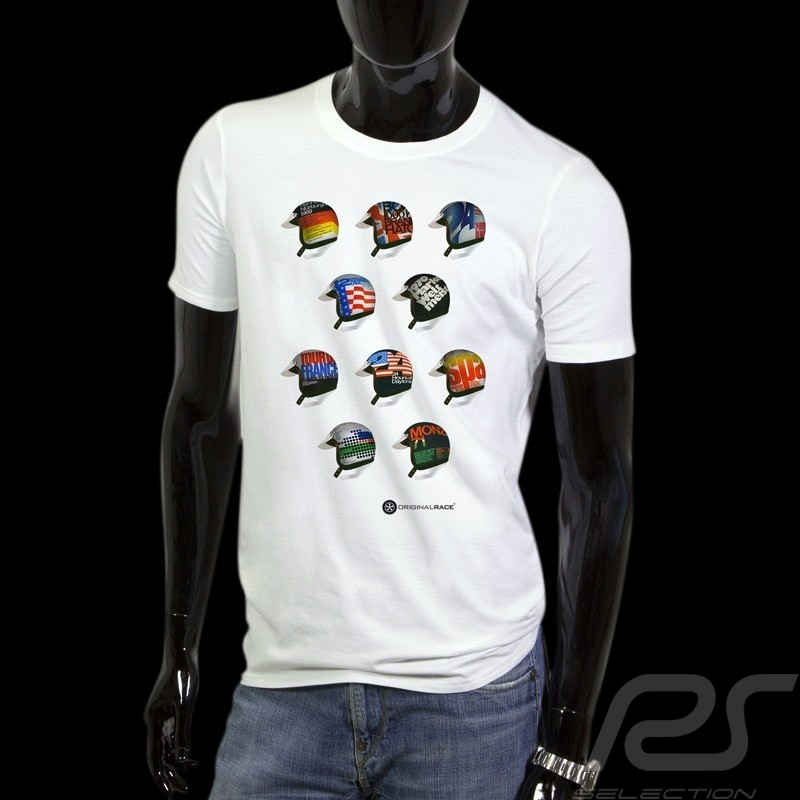 Men's T-shirt pilot helmet Classic races white