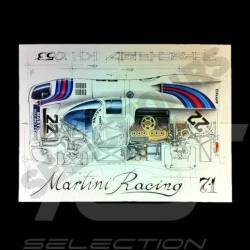 Porsche 917 K Martini Racing 1971 original drawing by Sébastien Sauvadet