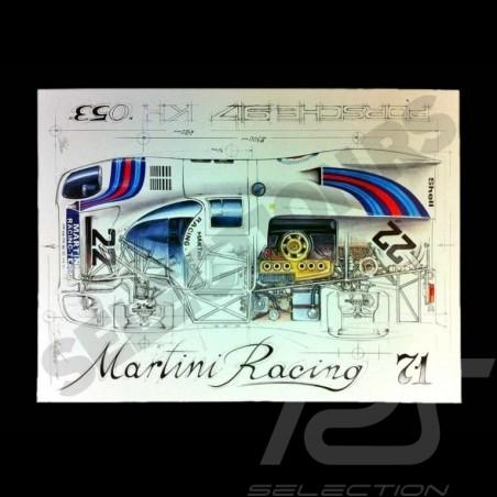 Porsche 917 K Martini Racing 1971 Original Zeichnung von Sébastien Sauvadet