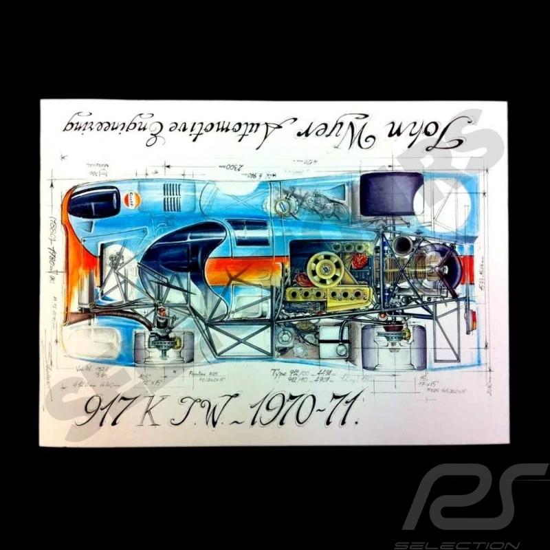Porsche 917 K Gulf Le Mans 1970-71 original drawing by Sébastien Sauvadet