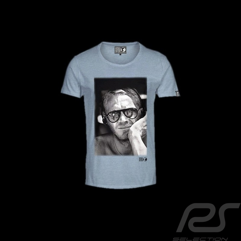 t shirt steve mcqueen visage bleu homme selection rs. Black Bedroom Furniture Sets. Home Design Ideas
