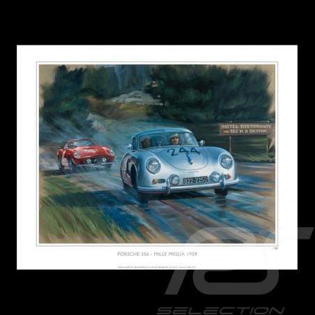 Porsche 356 Mille Miglia 1959 dessin original de Benjamin Freudenthal