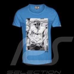 Men's T-shirt Steve McQueen standing blue
