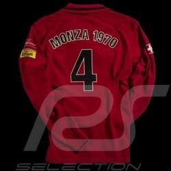 Herren Polo-shirt Clay Regazzoni n° 4 rot langen Ärmeln