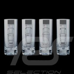 Set de 4 verres Porsche 911 silhouettes Long drink Set of 4 long drinks Set von 4 Gläser