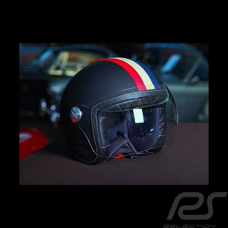 Racing Helm Vintage schwarz drei Streifen