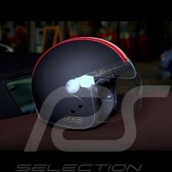 Casque de course vintage noir trois rayures Racing helmet Helm