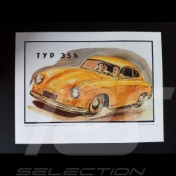 Porsche 356 1951 reproduction d'une affiche originale de Erich Strenger