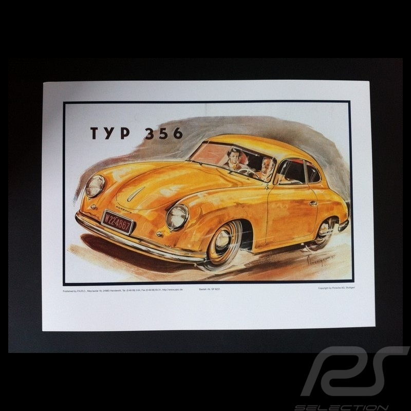 Porsche 356 1951 reproduction d'une affiche originale de Erich Strenger