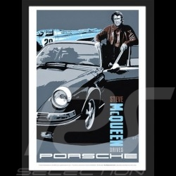 """ Steve McQueen drives Porsche "" reproduction d'une affiche originale de Nicolas Hunziker"