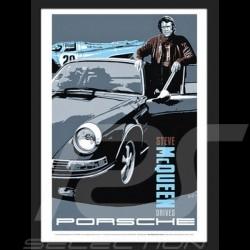 """"""" Steve McQueen drives Porsche """" reproduction d'une affiche originale de Nicolas Hunziker"""