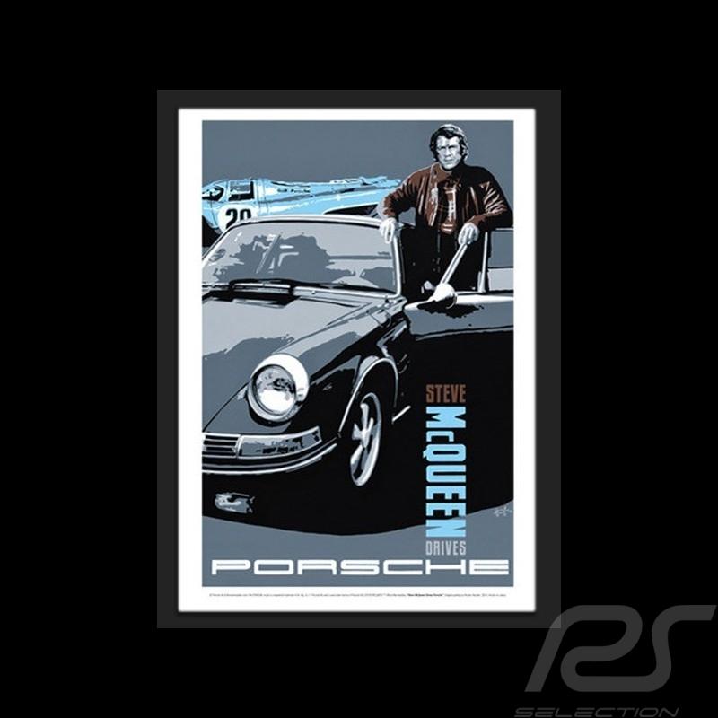 """"""" Steve McQueen drives Porsche """" Wiedergabe einer originale Plakat von Nicolas Hunziker"""