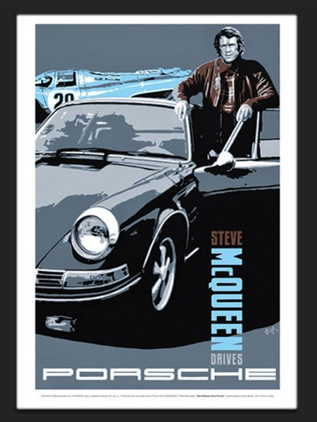steve mcqueen porsche reproduction d 39 un poster original de. Black Bedroom Furniture Sets. Home Design Ideas