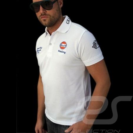 Herren Polo-shirt Gulf Racing weiß