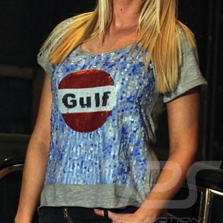 Damen T-shirt Gulf Pailleten grau