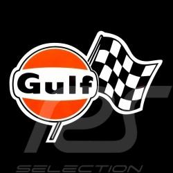 Autocollant Gulf drapeau à damier 13.5 x 10  cm