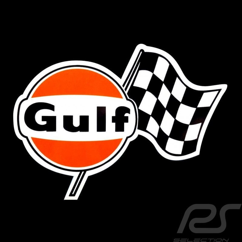 Gulf logo with checkered flag sticker 13.5 x 10 cm