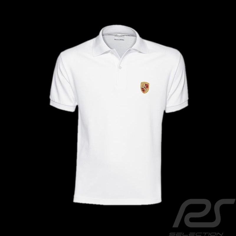 porsche polo shirt crest white porsche design wap591 men. Black Bedroom Furniture Sets. Home Design Ideas