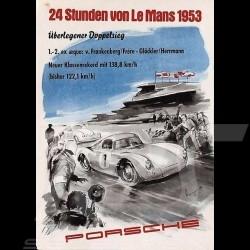 Porsche Poster 24h du Mans 1953 Porsche 550 reproduction d'une affiche originale de Erich Strenger