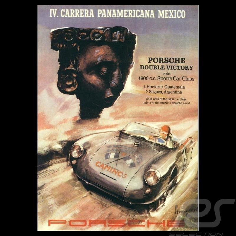 Porsche Poster 4th Carrera Panamericana 1953 affiche originale de Erich Strenger