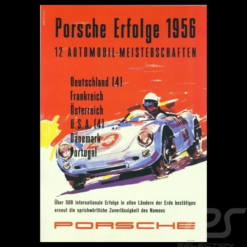Porsche Poster Erfolge 1956 Porsche 550 original poster by Erich Strenger