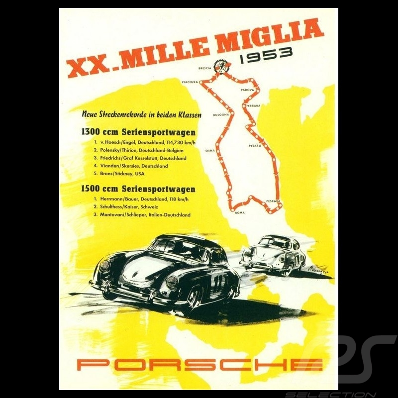 Porsche Poster 20th Mille Miglia 1953 original poster by Erich Strenger