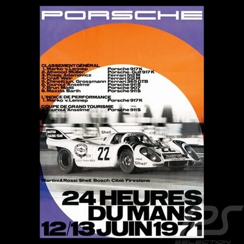 porsche poster 24h du mans 12 13 juin 1971 78 selection rs. Black Bedroom Furniture Sets. Home Design Ideas