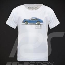 T-Shirt enfant Porsche 911 bleue blanc