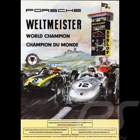 Porsche Poster 718 F2 Weltmeister 1960 Nürburgring
