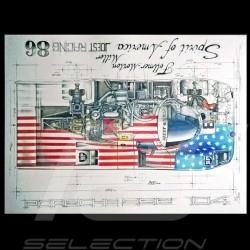 Porsche 956 Spirit of America 1986 dessin original de Sébastien Sauvadet